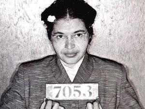Born in this day in Tuskegee, Ala. 1913, Rosa Parks, whose refusal to give up her bus seat to a white man helped to launch the 1955 Montgomery, Ala., bus boycott and contributed mightily to the civil rights push.